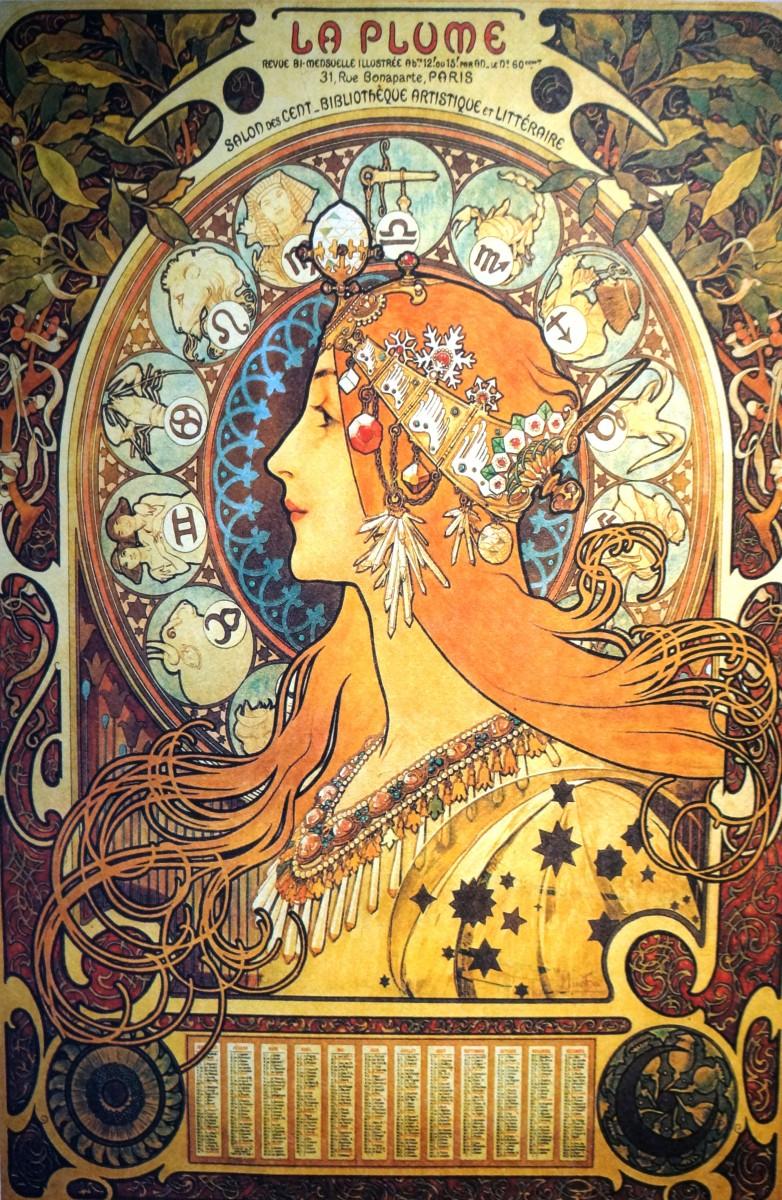 Alphonse Mucha Zodiac Mixed Emotions Fine Art